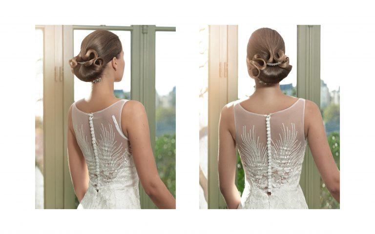 On admire le travail remarquable réalisé pour une coiffure de mariée très élégante et sophistiquée.